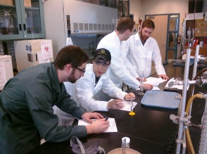 Brewmaster students in the lab
