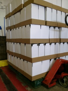 A partial skid of popped boxes