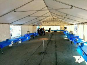 """Before"" shot of main beer tent. Everything looks so tidy and clean."