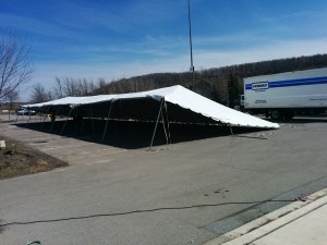 Main beer tent goes up the day before the festival.