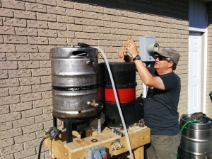 Mashing In. Nate, whoi built the system, is a bit taller than me.