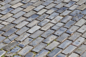 Blue-glazed cobblestones